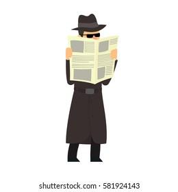 Detective conducts covert surveillance. vector illustration