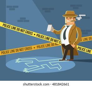 Detective at crime scene. Dead body. Vector flat cartoon illustration