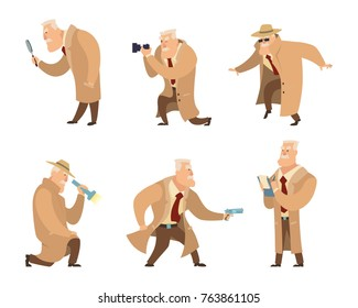 Detective in different action pose. Vector character in cartoon style. Detective character police, person inspector and investigator illustration