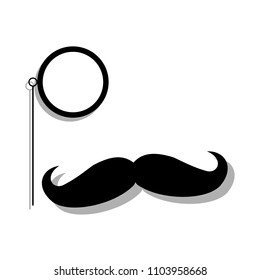 detective eye glass with mustache vector icon illustration