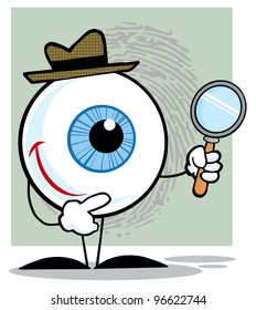 Detective Eyeball Holding A Magnifying Glass. Jpeg version also available in gallery.
