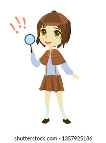 Detective girl with magnifying glass. Japanese anime style.Cartoon character clip art on white background.