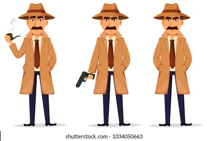 Detective in hat and coat. Set of handsome cartoon character with smoking pipe, with a gun and standing with hands in pockets. Vector illustration isolated on white background.