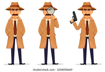 Detective in hat and coat. Set of handsome cartoon character with cigarette, with magnifying glass and with gun. Vector illustration isolated on white background.