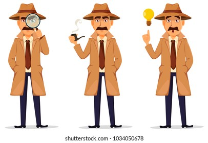 Detective in hat and coat. Set of handsome cartoon character with magnifying glass, with a good idea and with smoking pipe. Vector illustration isolated on white background.