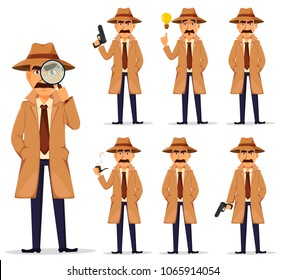Detective in hat and coat, set. Handsome cartoon character. Vector illustration isolated on white background.