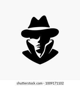 Detective head logo design inspiration isolated on white background