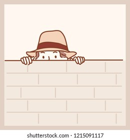 A detective hiding in a wall. hand drawn style vector design illustrations.