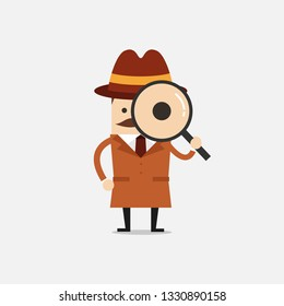 Detective holding a magnifying glass. Police detective and inspector cartoon.