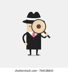 Detective holding a magnifying glass. vector