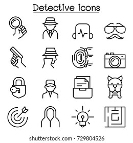 Detective icon set in thin line style