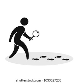 Detective investigate is following footprints. Man with loupe search footstep Vector illustration.