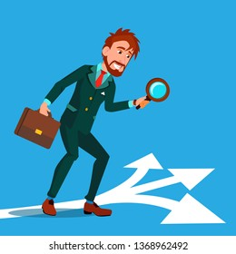 Detective Investigating, Searching Clues Cartoon Vector Character. Man Finding Clues At Crime Scene. Guy Holding Magnifying Glass, Briefcase Drawing. Businessman Choosing Path, Road Flat Illustration