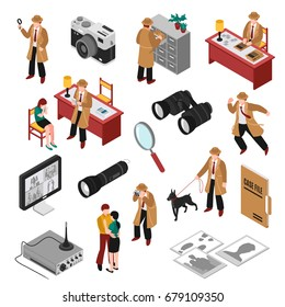 Detective isometric set with client, workplace and equipment, search with dog, case file, photos isolated vector illustration