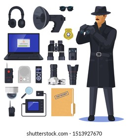 Detective items near spy or investigation officer. Secret agent near notebook and glasses, magnifier, camera and walkie talkie, top secret document, headphones, police badge, binocular. Sleuth