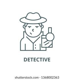 Detective line icon, vector. Detective outline sign, concept symbol, flat illustration