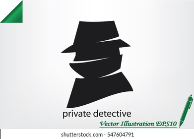 detective logo icon vector illustration eps10. Isolated badge for website or app - stock infographics
