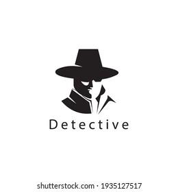 detective  logo vector illustration of man in hat design template