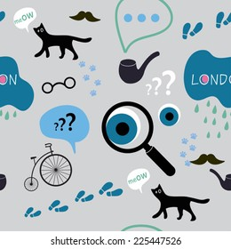 detective in London seamless pattern