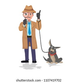 detective looking through magnifying glass and dog