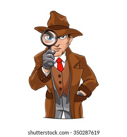 detective looking through magnifying glass