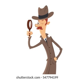 detective looking through magnifying glass vector cartoon