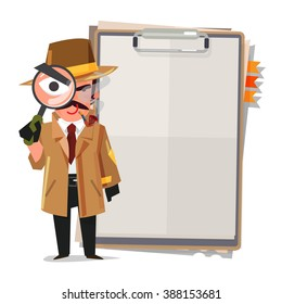 Detective, looking at you through magnifier with clipboard. character design - vector illustration