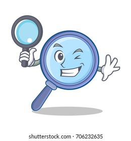 Detective magnifying glass character cartoon