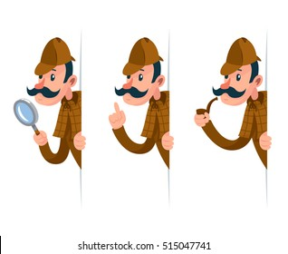 Detective with magnifying glass peeking out of corner cartoon design vector illustration
