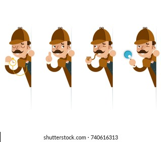 Detective with magnifying glass peeking out the corner cartoon flat design vector illustration