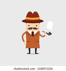 Detective man character smoking pipe. Police detective and inspector cartoon.