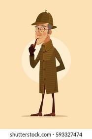 Detective man character smoking pipe. Vector flat cartoon illustration
