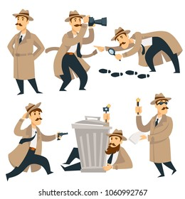 Detective man on investigation vector cartoon isolated character investigate crime evidence
