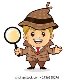 detective mascot cartoon in vector