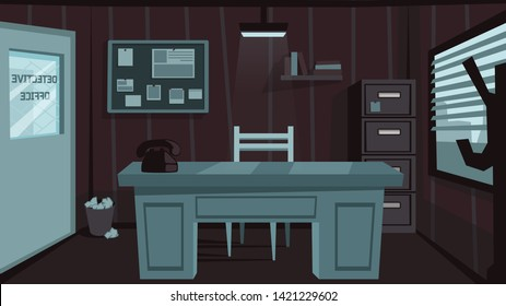 Detective noir office with desk, telephone, lamp and window