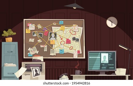 Detective office interior flat cartoon composition with crime scene diagram board computer monitor criminal profile vector illustration