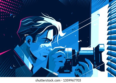 Detective with photo camera vector illustration. Young man spying on someone with digital camcorder indoors of secret apartment flat style design. Keeker at work concept