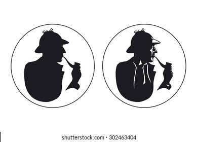 Detective pipe smoker silhouette. Sherlock Holmes. Detective man in hat,  private inspector, vector illustration