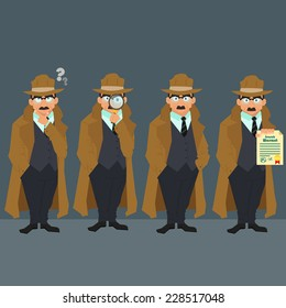Detective in a raincoat and hat. strict police in civilian clothes. character. vector illustration of a flat style.