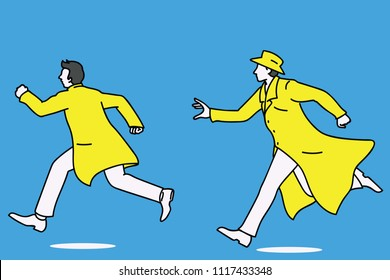 Detective running and chasing a man who try to run away. Outline, linear, thin line art, doodle, cartoon, hand drawn sketch design.