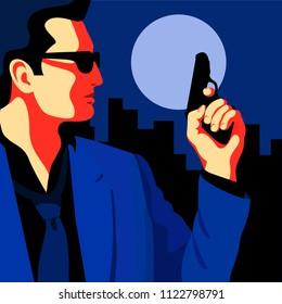 Detective, secret agent, spy, security guard with a gun. Flat vector illustration