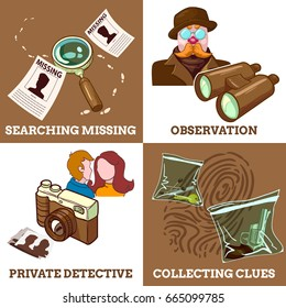 Detective service compositions with private eye search for missing observations and collecting clues isolated vector illustration
