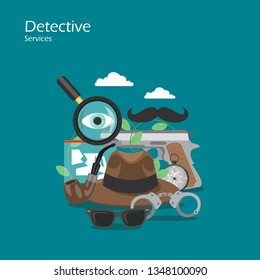 Detective services vector flat illustration. Magnifying glass, eye, moustache, hat, handcuffs, pistol, smoking pipe compass and evidence. Spy equipment, accessories for web banner, website page