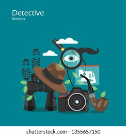 Detective services vector flat style design illustration. Magnifier, hat, binoculars, photo camera, smoking pipe etc. Spy or private investigator equipment and accessories for web banner, website page