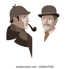 Detective Sherlock Holmes and Dr. Watson. Vector illustration.