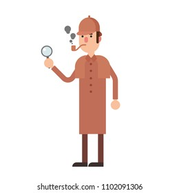Detective Sherlock Holmes With Magnifying Glass and Smoking Pipe. Flat Illustration