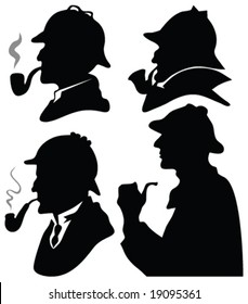 detective silhouettes - vector