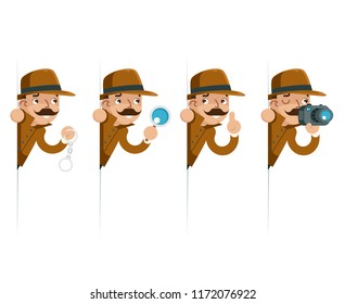 Detective snoop magnifying glass handcuffs whistle look peeking out of corner cartoon flat design vector illustration
