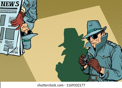 Detective Spy background concept. Comic cartoon pop art retro vector illustration drawing