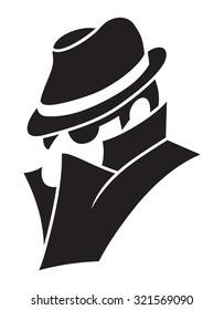 Detective - spy man vector icon